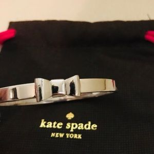 "Kate Spade Authentic ""Take a bow"" Silver Bangle."
